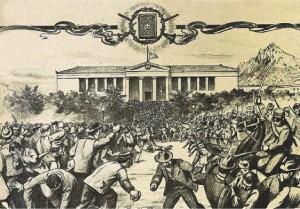 Τα «ευαγγελιακά» σε μία λιθογραφία της εποχής, έτσι όπως δημοσιεύεται στην εγκυκλοπαίδεια «Μαλλιάρης-παιδεία» και δείχνει την σύγκρουση των φοιτητών με την έφιππη αστυνομία, στο χώρο του Πανεπιστημίου Αθηνών, τον Νοέμβριο του 1901.