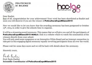 October 13th 2015, Awarding Ceremony PoliculturaExpoMilano2015
