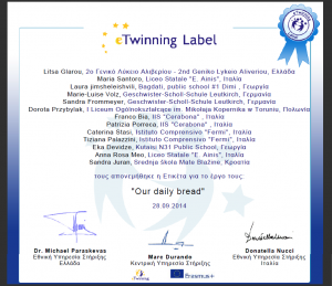 eTwinning Label Our daily bread