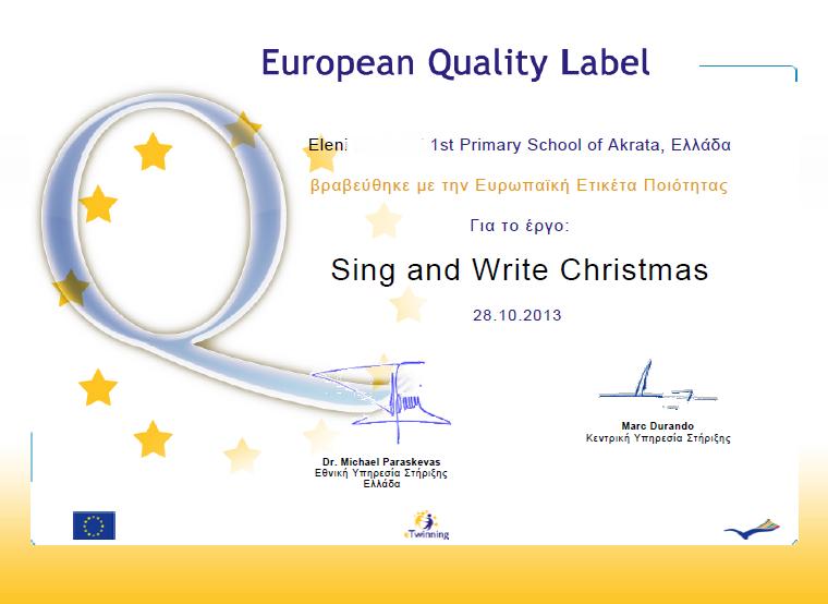 EUROPEAN LABEL award