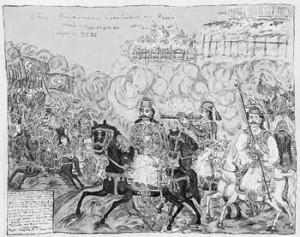 Karaiskakis_chasing_the_Turks_by_Theofilos