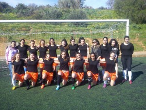 H ομάδα των κοριτσιών μετά την νίκη τους με το  Λύκειο Αλικιανού