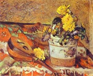 Μαντολίνο και βάζο με λουλούδια, Πωλ Γκωγκέν, 1883