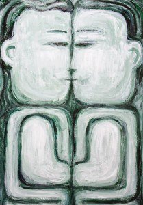IMG_9412_The_Naive_Kiss_raw_art_monotone_man_and_woman_symmetry_portrait