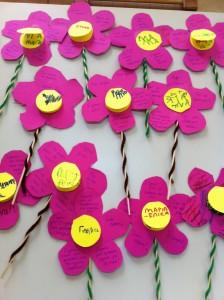 Λουλούδια  Στα πέταλα του λουλουδιού είναι γραμμένα γλυκά λογάκια του παιδιού προς τη μαμά του!