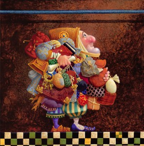 A-funny-fantasy-and-surrealism-painting-by-James-Christensen-of-a-Christmas-elf-with-gifts