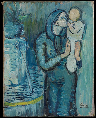 Π. Πικάσο, «Μητέρα και παιδί δίπλα σε συντριβάνι», 1901 [πηγή Μητροπολιτικό Μουσείο της Ν. Υόρκης]