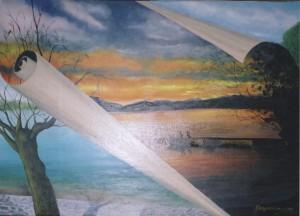 """""""Ατέρμον ξεφύλλισμα"""", λάδι σε μουσαμά, έργο του Γιάννη Οργανόπουλου"""