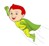 flying super hero character clipart
