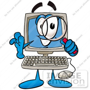 23491-clip-art-graphic-of-a-desktop-computer-cartoon-character-looking-through-a-magnifying-glass-by-toons4biz