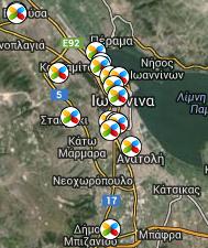 Χάρτης σχολείων Ιωαννίνων που χρησιμοποιούν LTSP