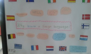 """Το τμήμα του Στ'2 ασχολήθηκε με το θέμα """"Why learn a foreign language?"""" και μετά από συζήτηση αποφασίσαν ότι αυτοί είναι οι κυριότεροι λόγοι να μάθει κανείς ξένες γλώσσες και δημιούργησαν αυτή την αφίσα."""