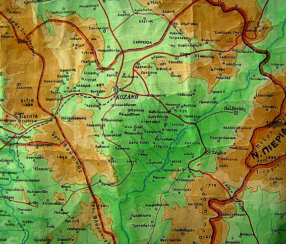 Χάρτης περιοχής Κοζάνης όπου δραστηριοποιήθηκε το Κέντρο Πληροφοριών Μπούρινου