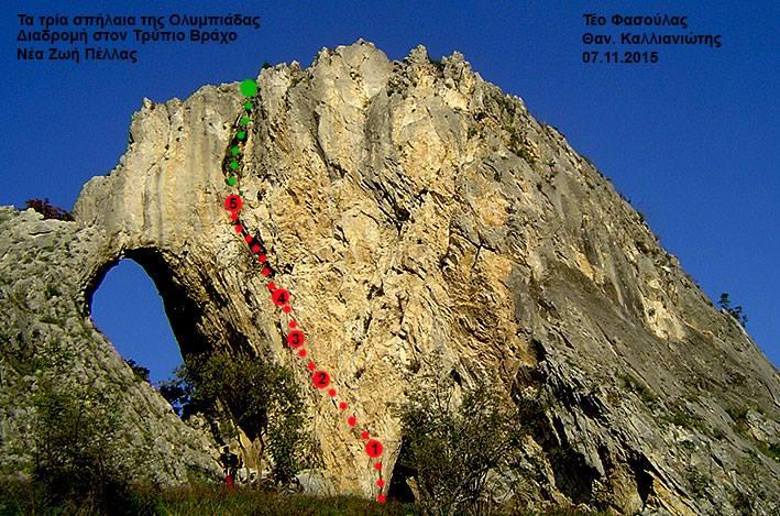 Τμήμα του «Τρύπιου Βράχου», ασβεστολιθικού πεδίου στη Νέα Ζωή Πέλλας. Με το κόκκινο δηλώνεται η νέα αναρριχητική διαδρομή ονόματι «Τα τρία σπήλαια της Ολυμπιάδας», 30 περίπου μέτρα, 6b+ πιθανή δυσκολία, 5 πλακέτες. Ξεκινά από την είσοδο της σπηλιάς, όπου έμπαιναν όσες γυναίκες επιζητούσαν τεκνοποίηση, κι έπειτα περνά από άλλα δύο σπήλαια ψηλότερα ευρισκόμενα. Με το κόκκινο ό,τι γαζώθηκε σήμερα, με το πράσινο το τμήμα που έμεινε ανέπαφο. — μαζί με τους Teo Fasoulas στην τοποθεσία Néa Zoí, Pella, Greece.
