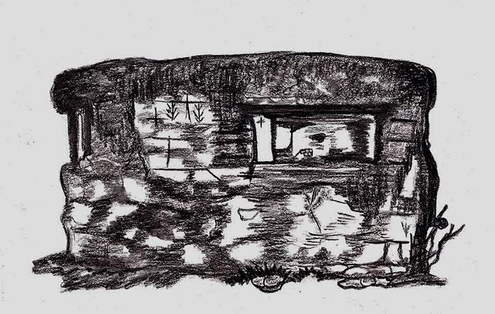 Σημερινή όψη πολυβολείου Κοζάνης. Σχέδιο: Σταματία Λαγού