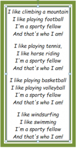 English Coursebook - 4th Grade - Sports Song Lyrics