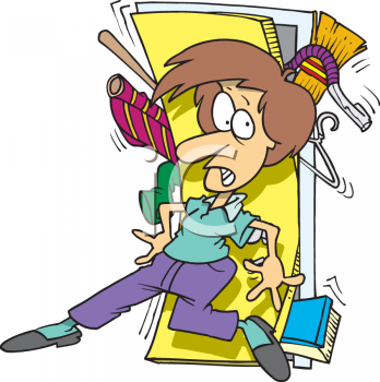 0511-0906-1516-4431_woman_trying_to_close_the_door_of_a_closet_overflowing_with_stuff_clipart_image1